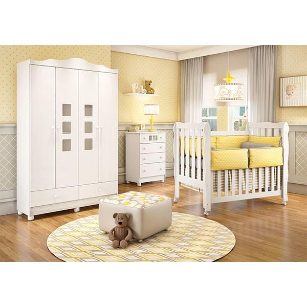 Jogo de Quarto para Bebê com Guarda Roupa + Cômoda + Berço Mini Cama Lila - Carolina Baby