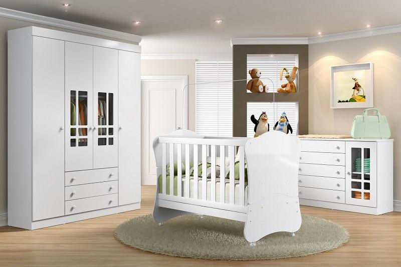 Jogo De Quarto Para Bebê Com Guarda Roupa, Cômoda E Berço Mini Cama Linha Brigadeiro Multimóveis