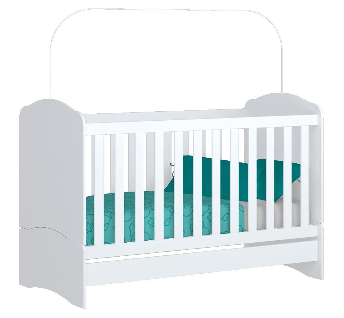 Jogo de Quarto para Bebê Guarda Roupa 3 Portas e Cômoda Maça do Amor, Berço Mini Cama Bala de Menta - Henn