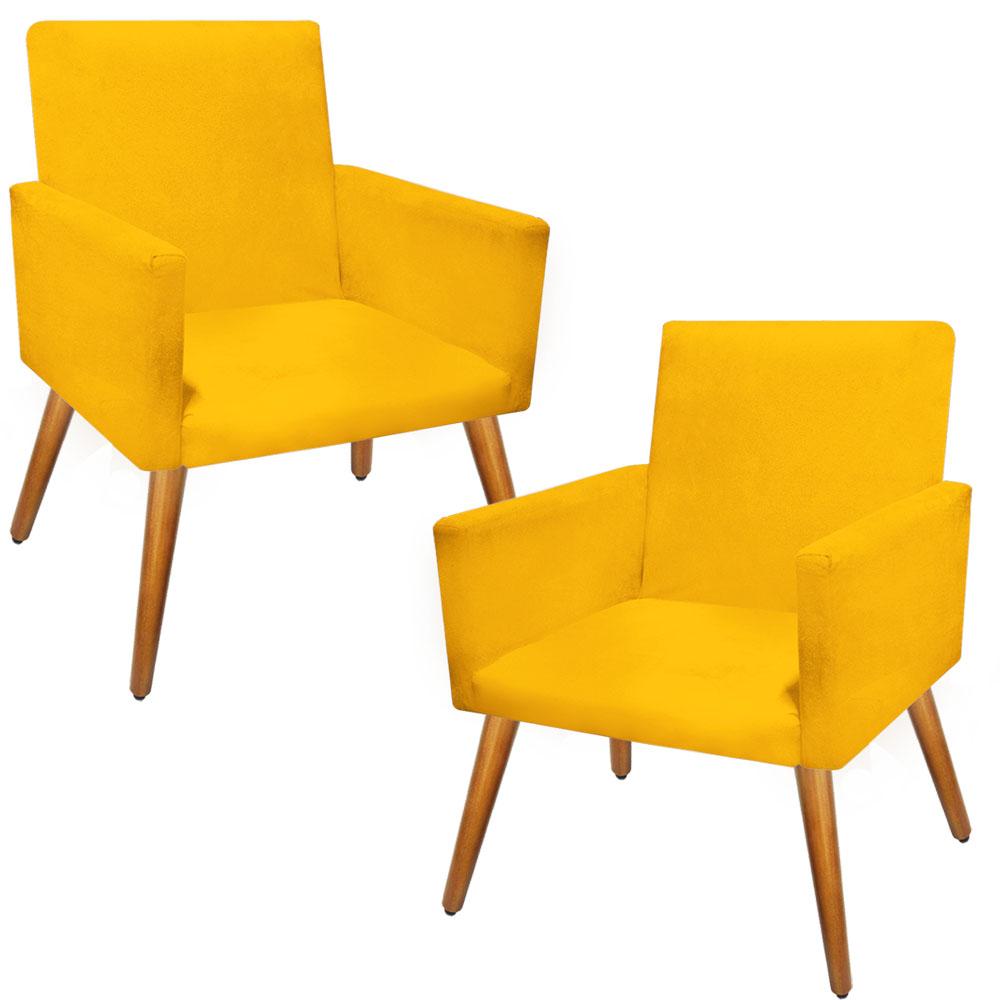 Kit 2 Poltronas Decorativa Nina Pés Palito Suede Amarelo