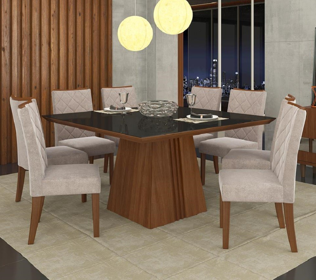 Mesa Itália Com Tampo De Madeira Chanfrado Com Vidro + 8 Cadeiras Golden Dj Móveis