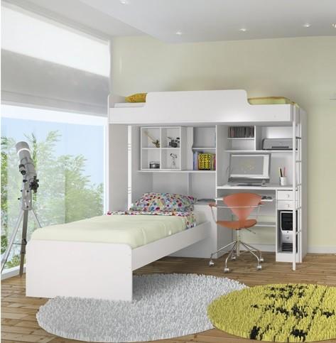 Módulo Office Com Escrivaninha Teen Mais Cama Juvenil - Santos Andira