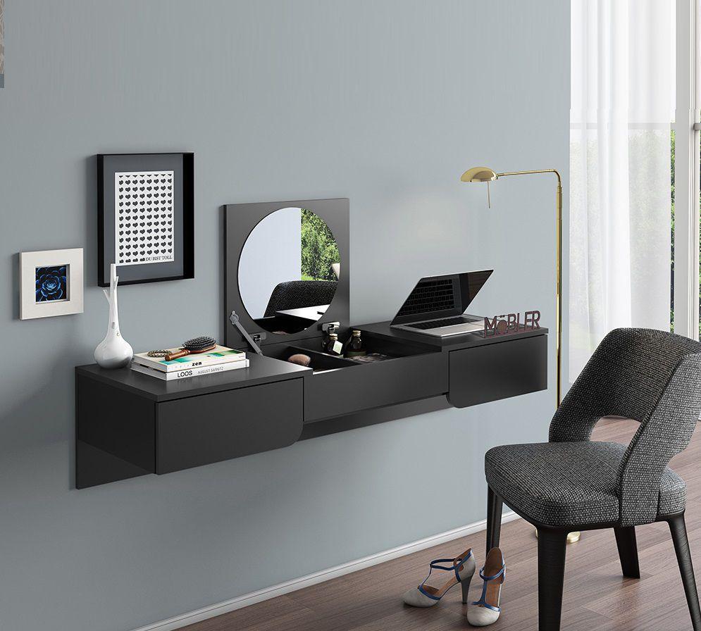 Penteadeira Escrivaninha Suspensa Elegance - Preto Fosco - Mobler