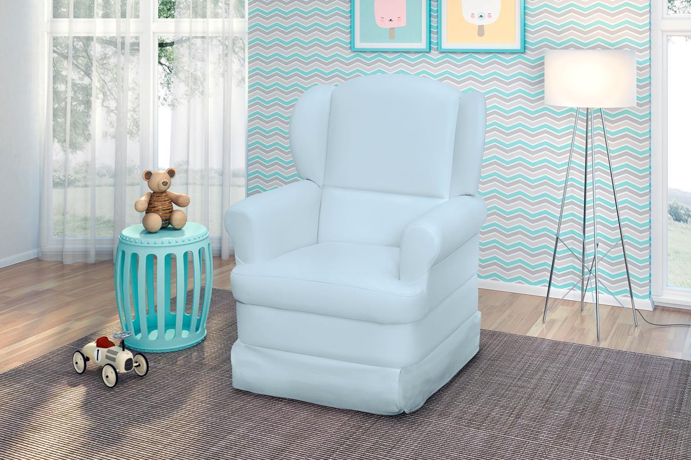 Poltrona de Amamentação com Balanço Sabrina Azul Bebê - Phoenix Baby