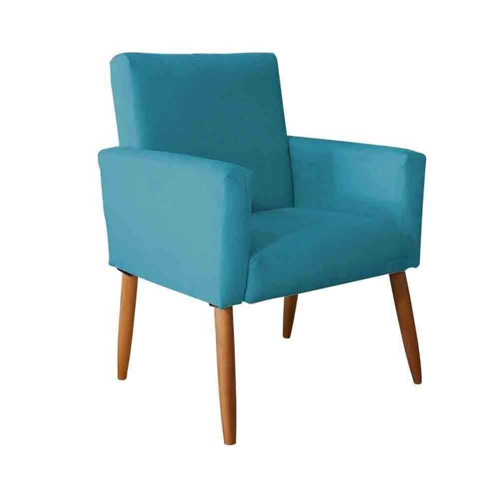 Poltrona Decorativa Nina Pés Palito Suede Azul Tiffany