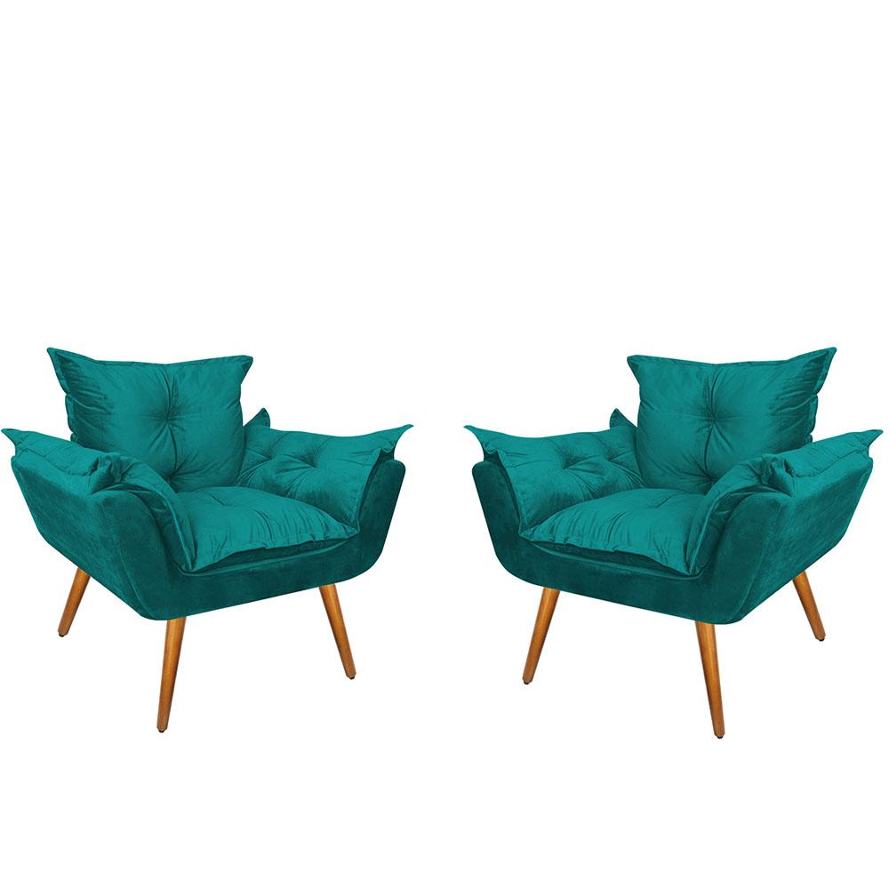 Poltronas Opala Suede Azul Turquesa Kit com 2 Pés Palito Castanho