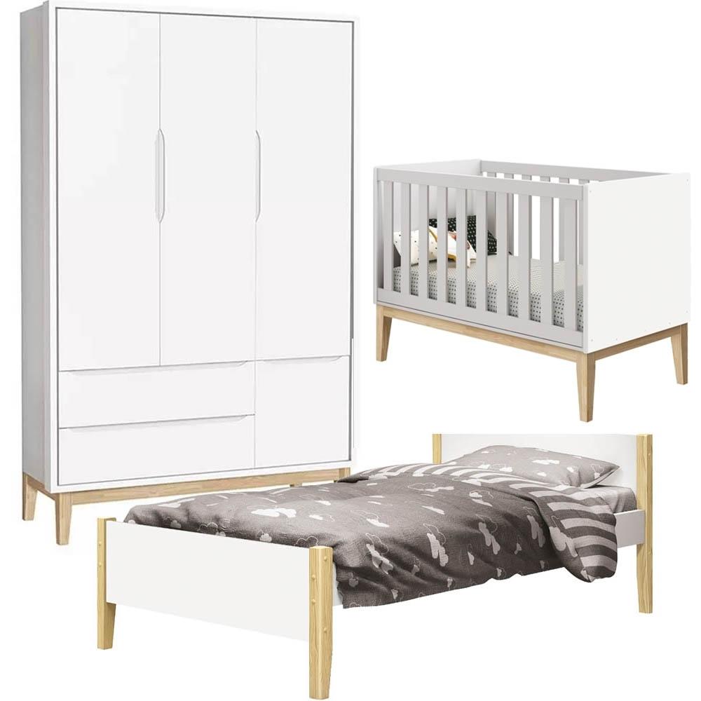 Quarto Bebê com Guarda Roupa 3 Portas + Berço + Cama - Pés Classic Natural - Reller