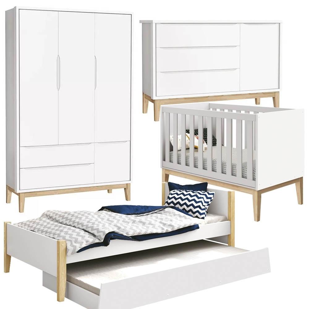 Quarto Bebê com Guarda Roupa 3 Portas + Cômoda + Berço + Cama com Auxiliar - Pés Classic Natural - Reller