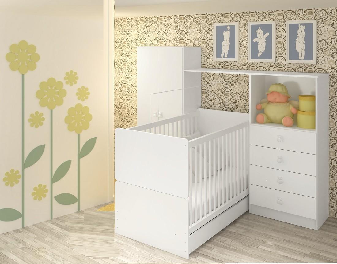 Quarto Compacto Infantil Roupeiro-Cômoda 5040 + Berço 4045 Meu Fofinho Art In Móveis