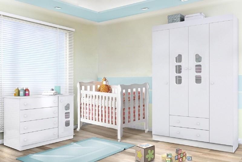 Quarto Completo Lívia com Guarda Roupa 4 Portas + Cômoda e Berço Lila - Phoenix Baby