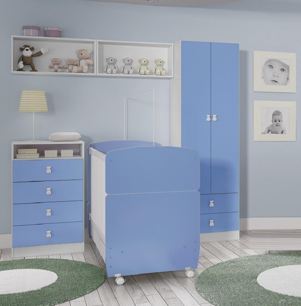 Quarto Completo para Bebê Berço Mini Cama 3035, Guarda Roupa 5049, Nichos 7038 e Cômoda 4049 Art In Móveis Meu Fofinho