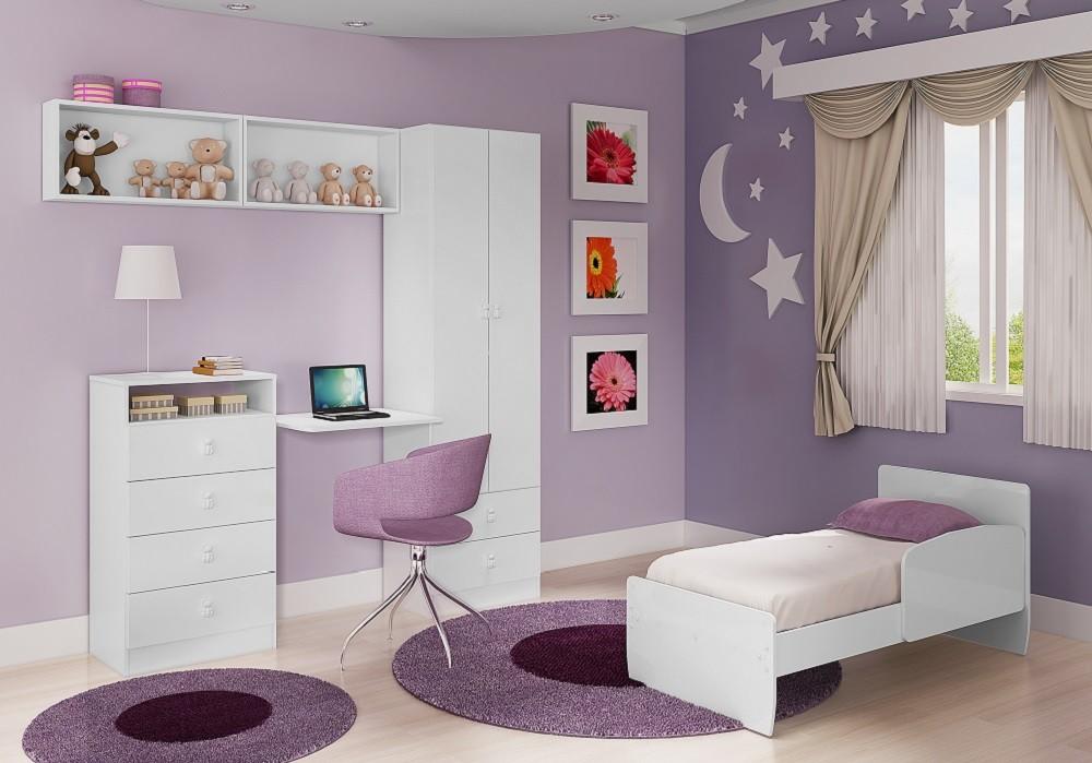 Móveis para Quarto de Bebê com Berço 3035 + Roupeiro 5049 + Nichos 7038 + Cômoda 4049 Art In Móveis