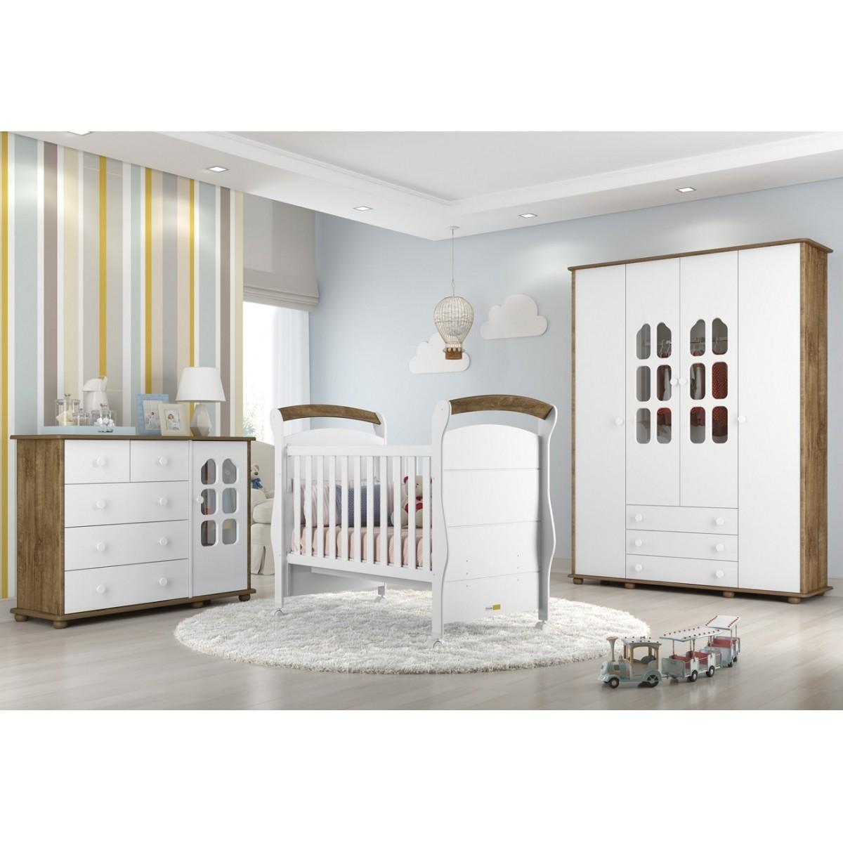 Quarto Completo Para Bebê Com Roupeiro 4 Portas + Cômoda Amore + Berço Mini Cama Fratelli Matic