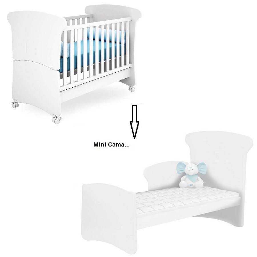 Quarto De Bebê Com Guarda Roupa 04 Portas + Cômoda Letícia + Berço Mini Cama Amore 240 - Phoenix Baby