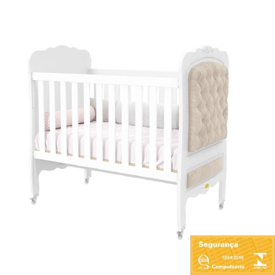 Quarto de Bebê com Guarda Roupa 3 Portas + Cômoda + Berço Mini Cama com Capitoné  Provence Matic
