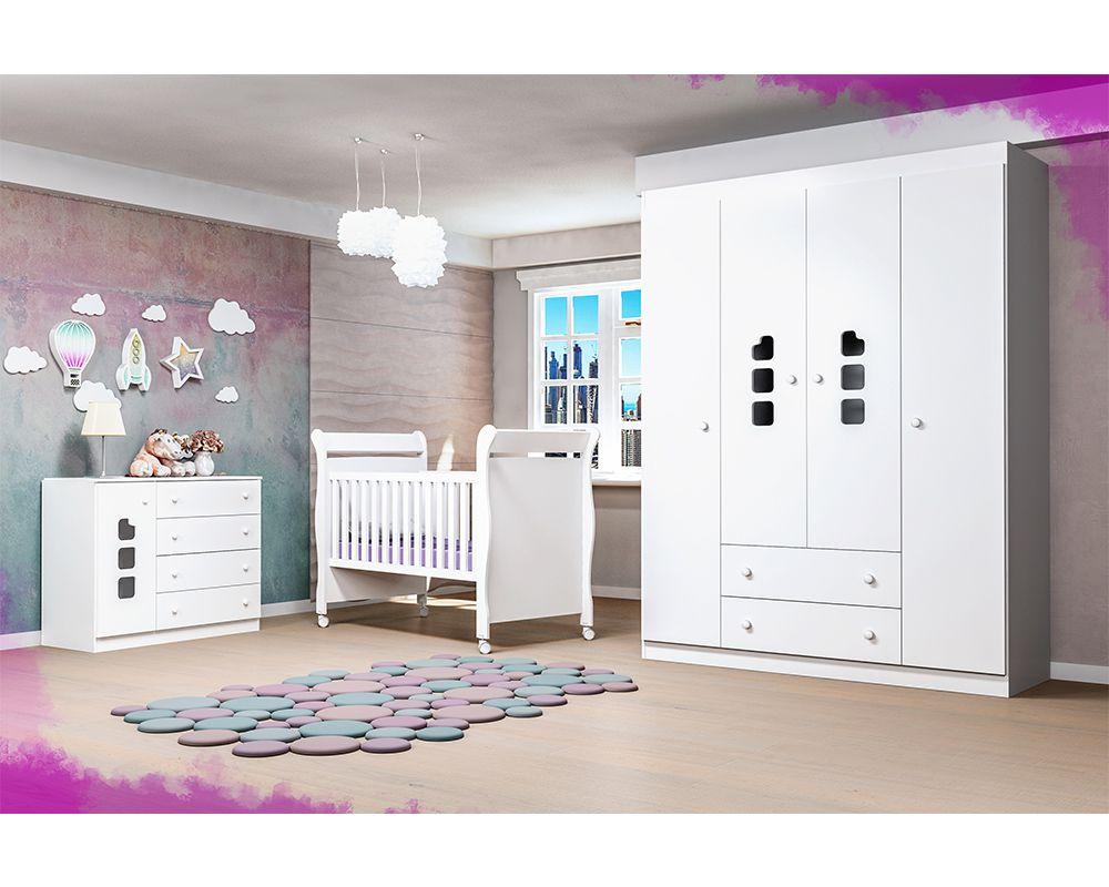 Quarto De Bebê Com Guarda Roupa 4 Portas, Cômoda Ana Livia + Berço 251 - Phoenix Baby