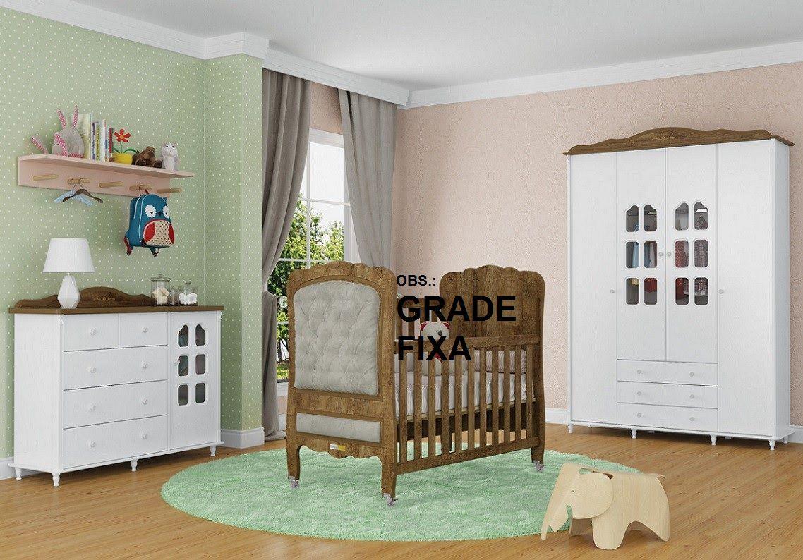 Quarto De Bebê Com Guarda Roupa 4 Portas + Cômoda + Berço Mini Cama Com Capitoné Provence Matic