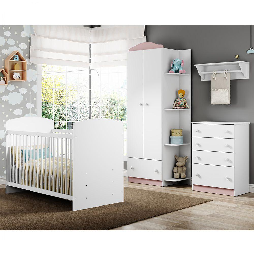 Jogo De Quarto De Bebê Com Guarda Roupa, Cômoda E Berço Linha Confete Multimóveis