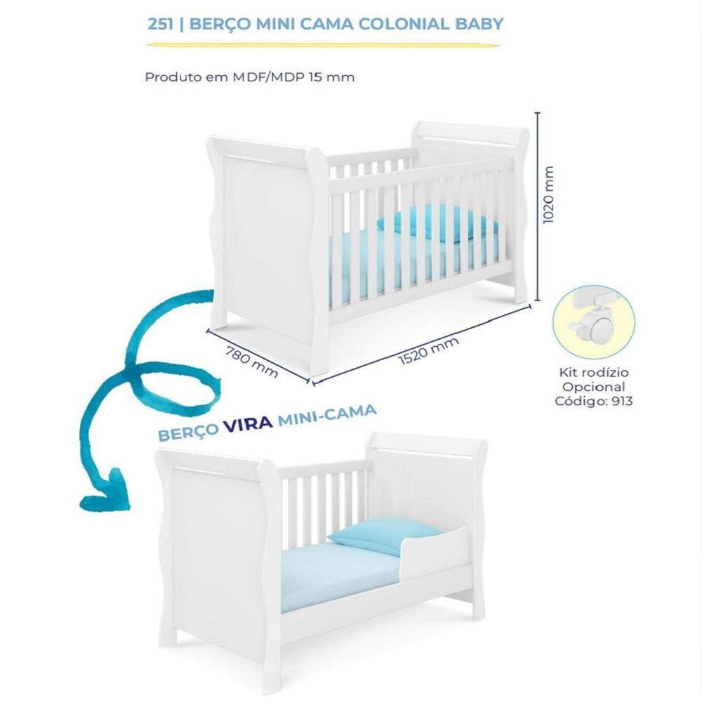 Quarto de Bebê Emile Slim com Guarda Roupa 4 Portas + Cômoda + Berço Mini Cama 251 - Branco