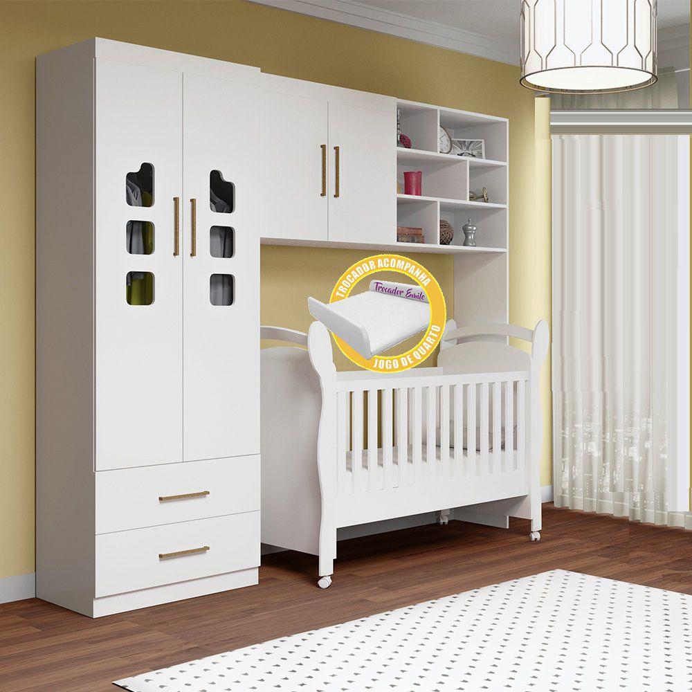 Quarto de Bebê Selena com Guarda Roupa 2 Portas + Módulo Aéreo + Berço 251 - Phoenix