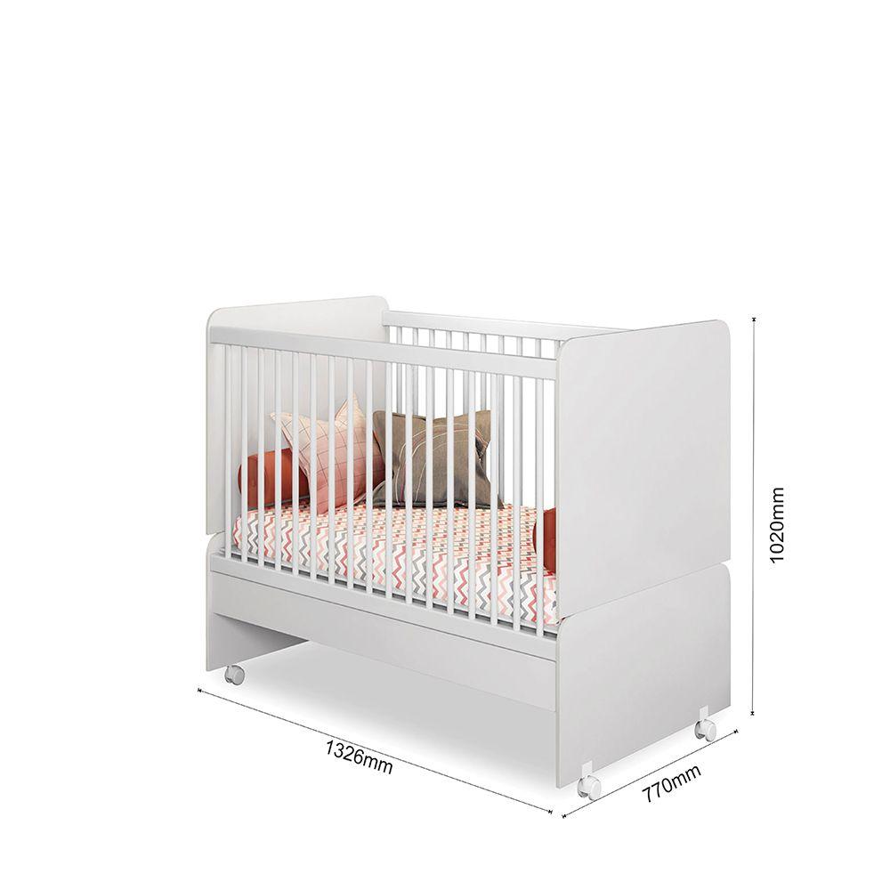 Quarto Infantil com Berço Mini Cama SR + Colchão + Guarda Roupa + Cômoda Laura - Phoenix