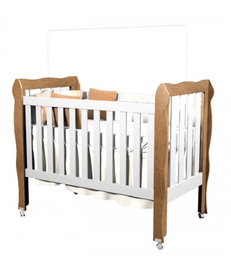 Quarto Infantil com Guarda Roupa 04 Portas Ana Clara + Berço Mini Cama Lila Kit 2 Peças - Phoenix Baby
