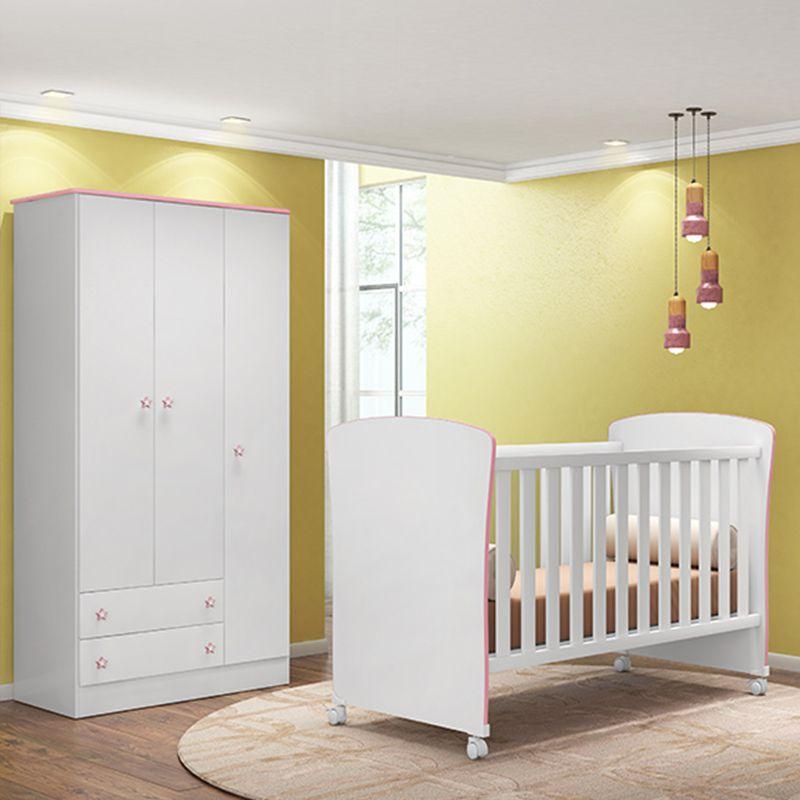 Quarto Infantil com Guarda Roupa 2 Portas + Berço 2484 - QMovi