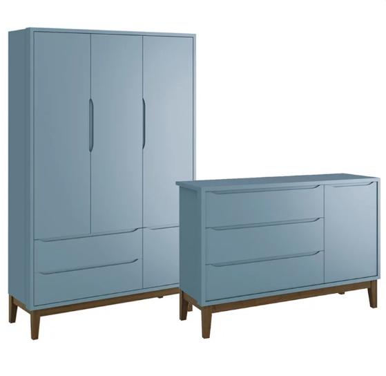 Quarto Infantil Com Guarda Roupa 3 Portas e Cômoda Sapateira 1 Porta Classic Azul Fosco - Reller