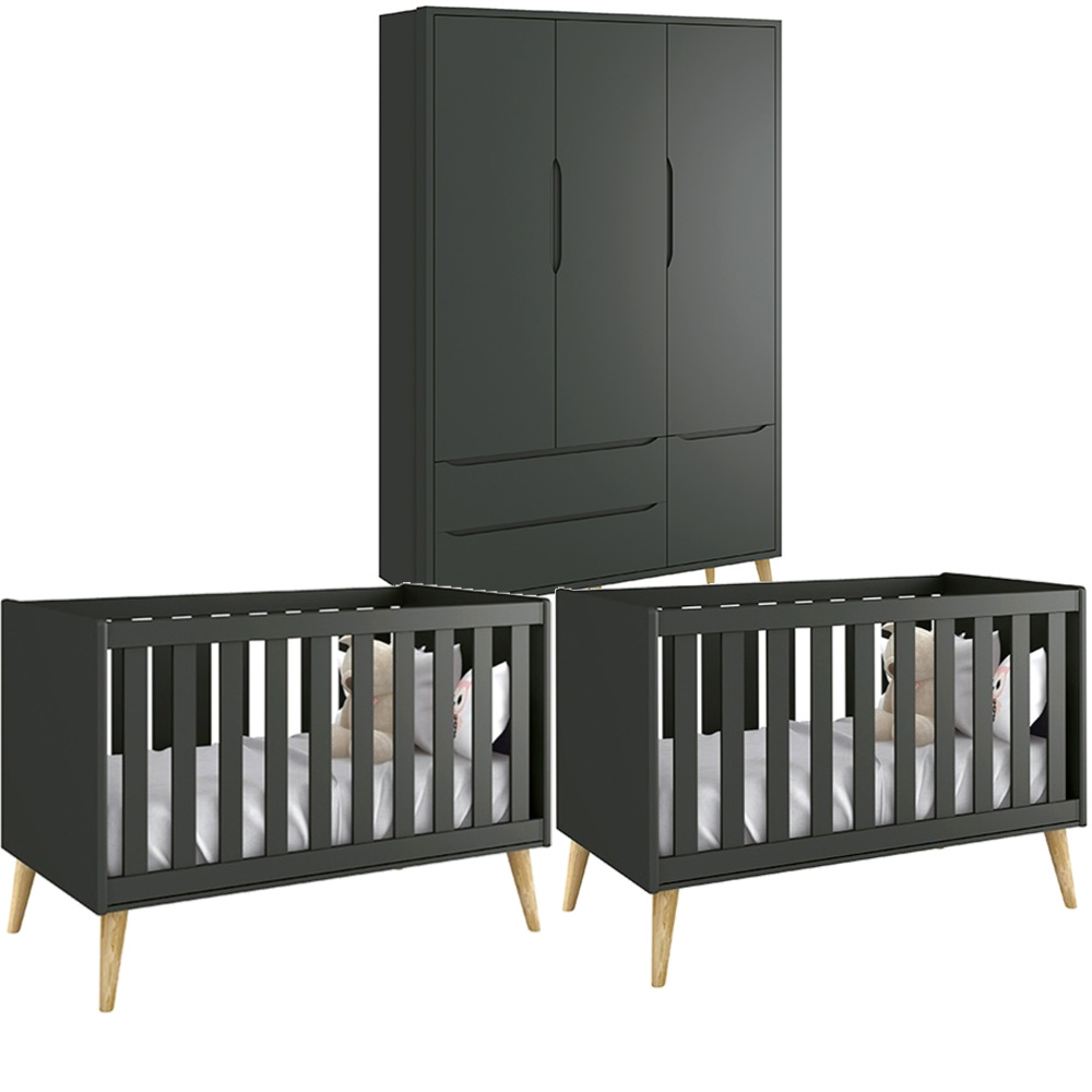 Quarto Infantil Théo Retrô Com Guarda Roupa 3 Portas + Berço Kit Gêmeos - Reller
