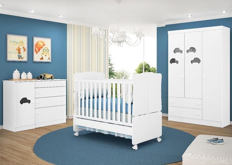 Quarto para Bebê com Guarda Roupa 3 Portas + Cômoda Sapateira + Berço Mini-Cama Amore - QMovi