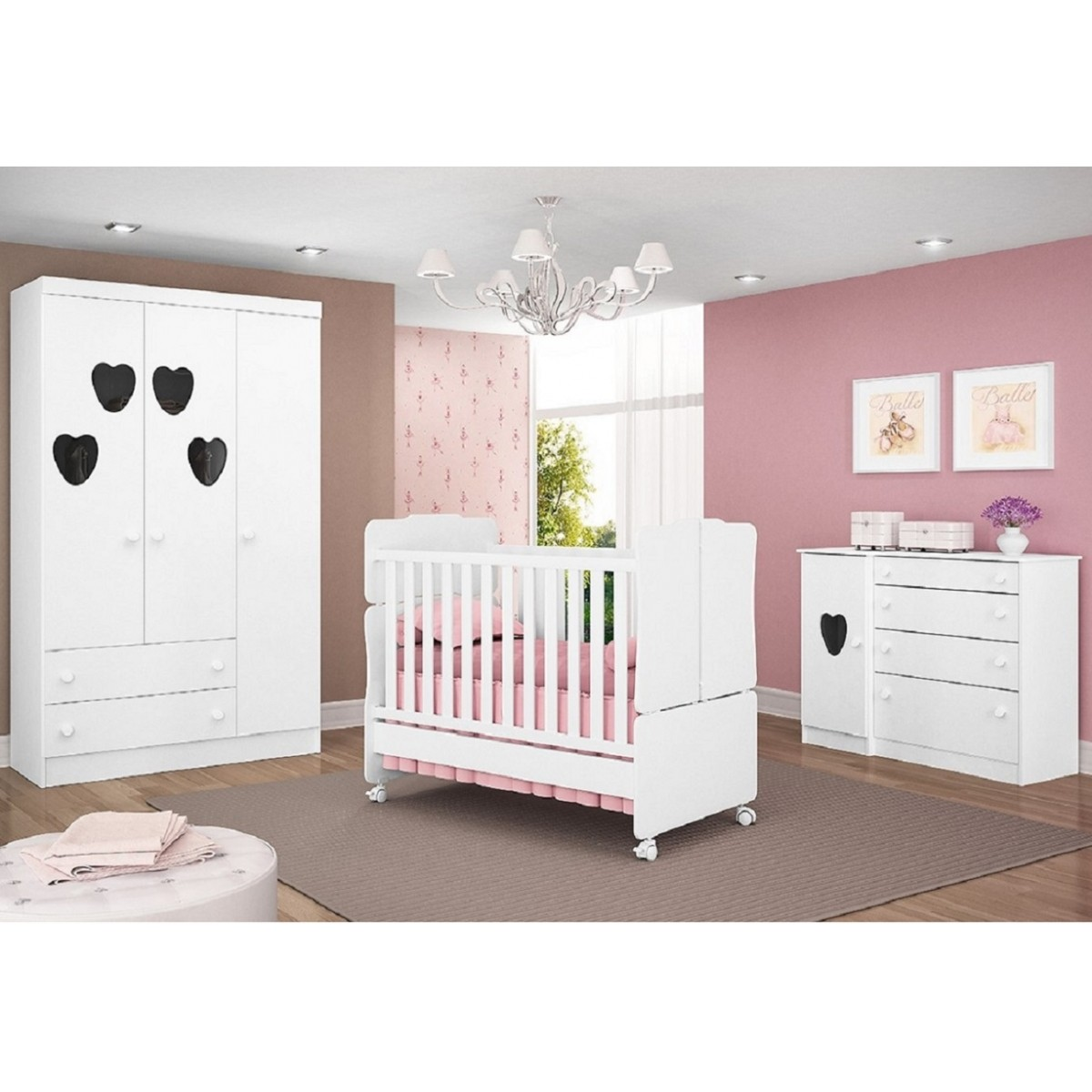 Quarto para Bebê com Guarda Roupa 3 Portas + Cômoda Sapateira + Berço Mini Cama - QMovi