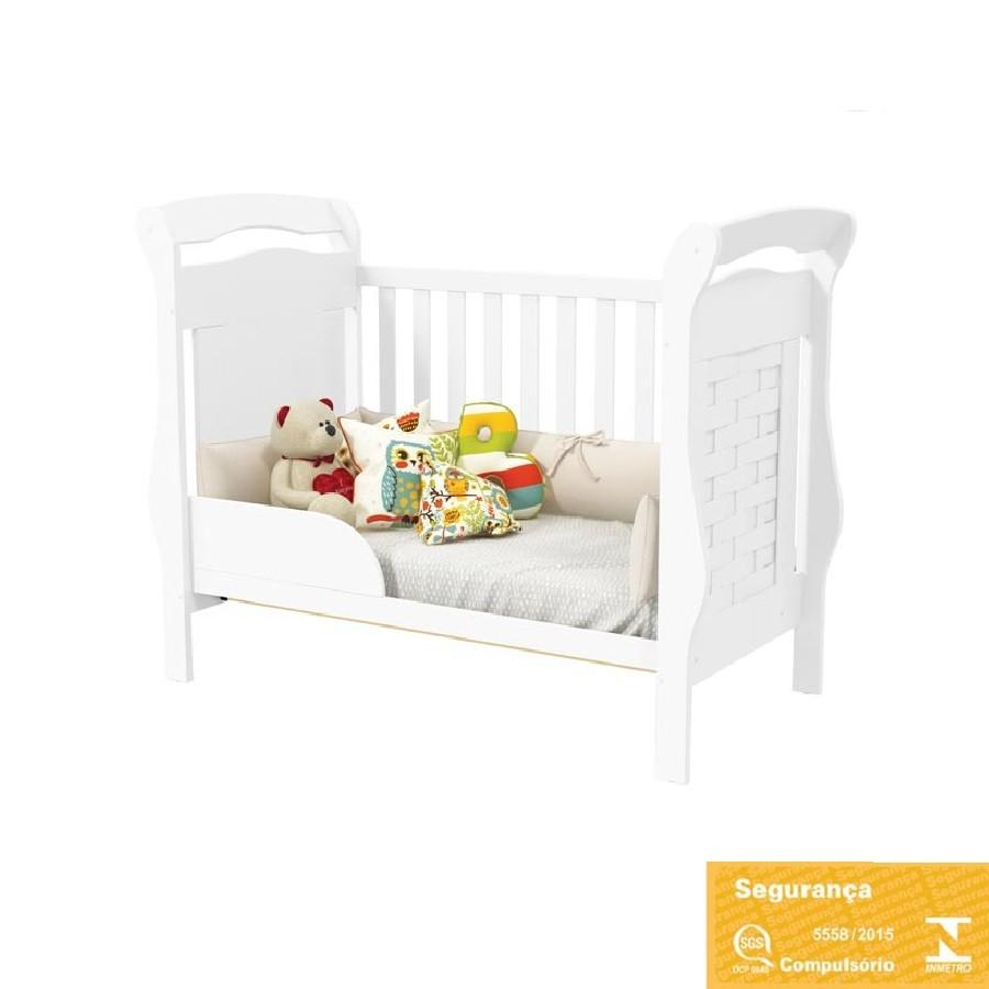 Quarto Para Bebê Com Guarda Roupas De Portas De Correr + Cômoda Treliça + Berço Mini Cama Elegance Matic