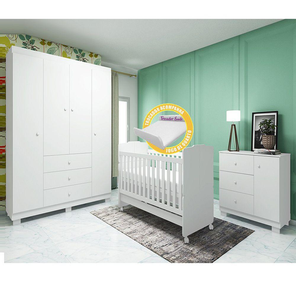 Quarto Para Bebê Emile Slim Com Guarda Roupa 4 Portas + Cômoda + Berço Mini Cama 230