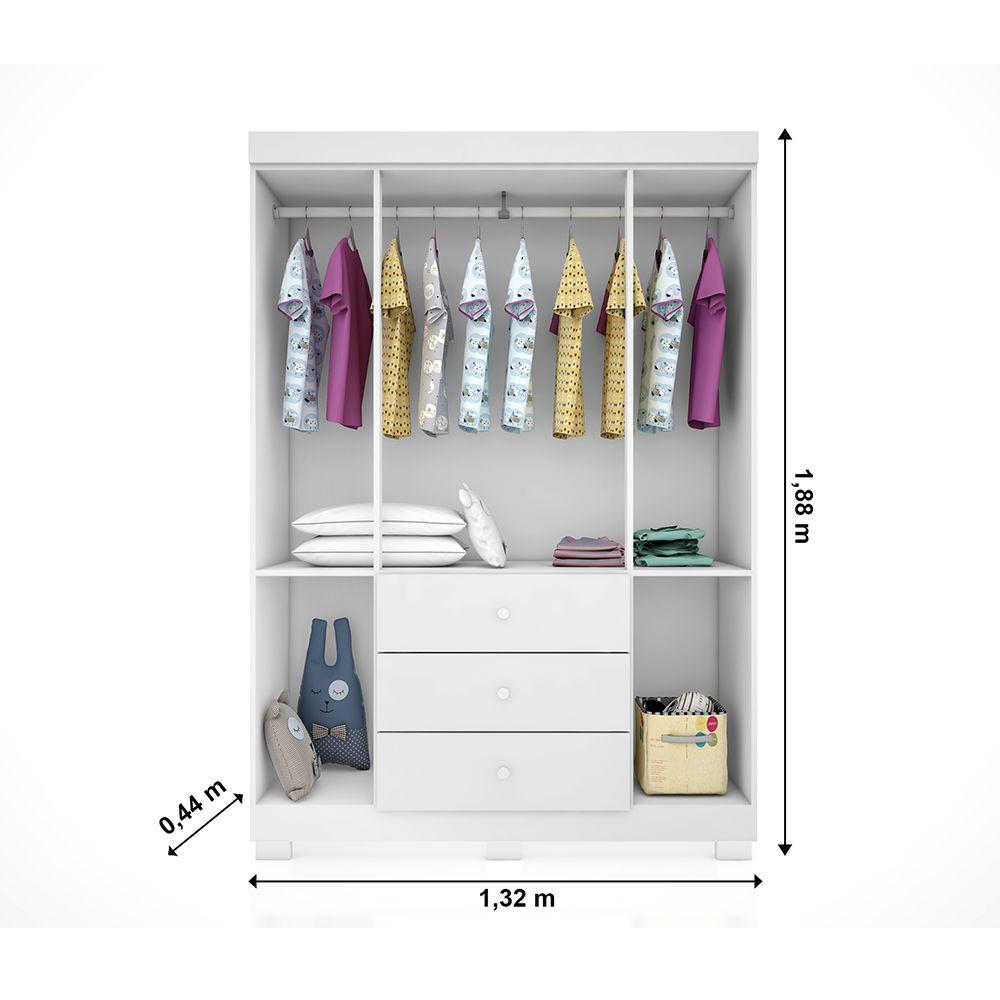 Quarto Completo Emile Slim Com Guarda Roupa 4 Portas + Cômoda + Berço Mini Cama 230 + Colchão