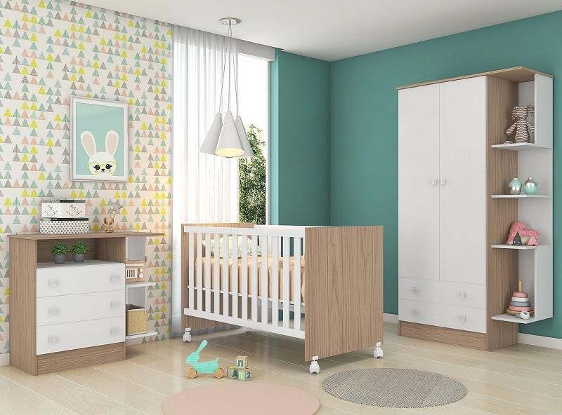 Quarto Bebê Com Guarda Roupa Cômoda Berço Doce Sonho Qmovi