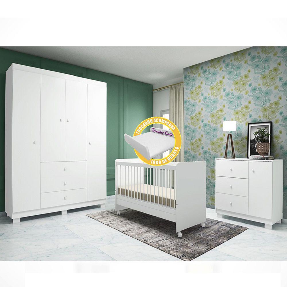 Quarto para Bebê Emile Slim com Guarda Roupa 4 Portas + Cômoda + Berço Mini Cama SR - Branco
