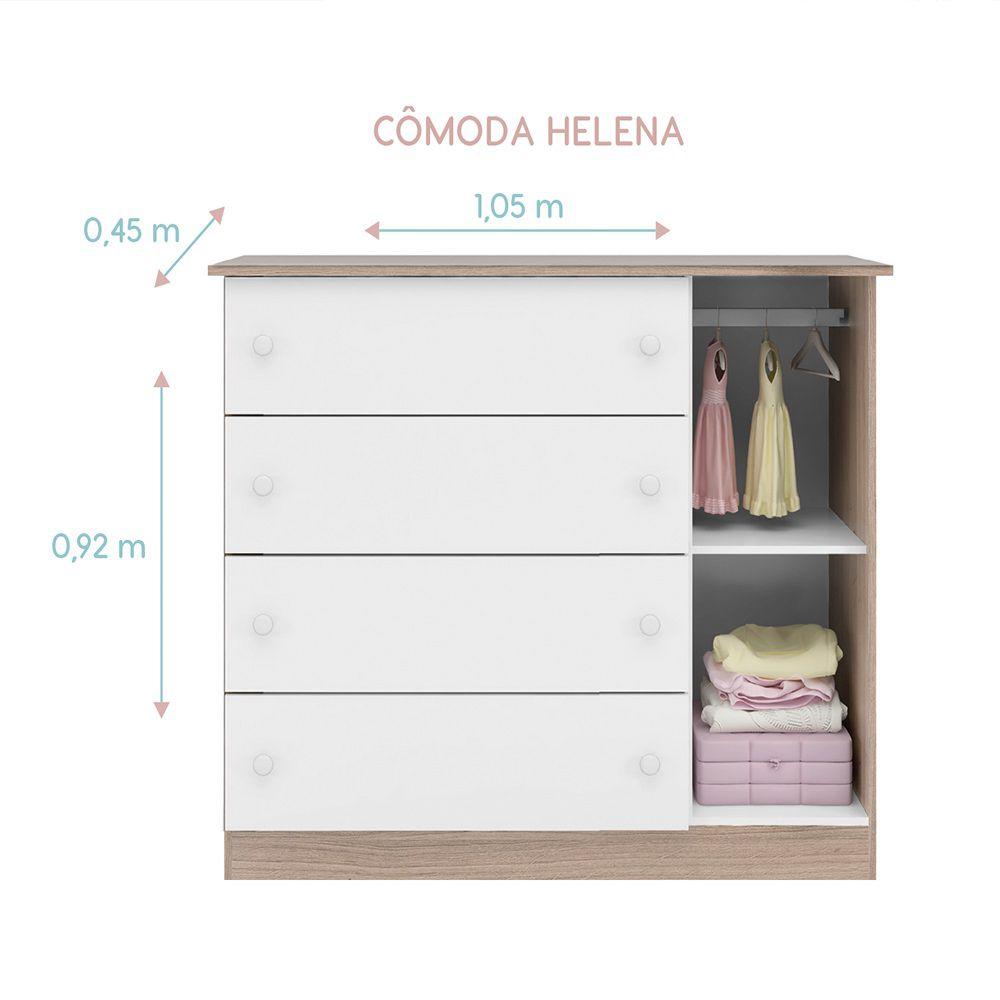 Quarto para Bebê Helena com Guarda Roupa 4 Portas + Cômoda + Berço Mini Cama SR - Phoenix CV