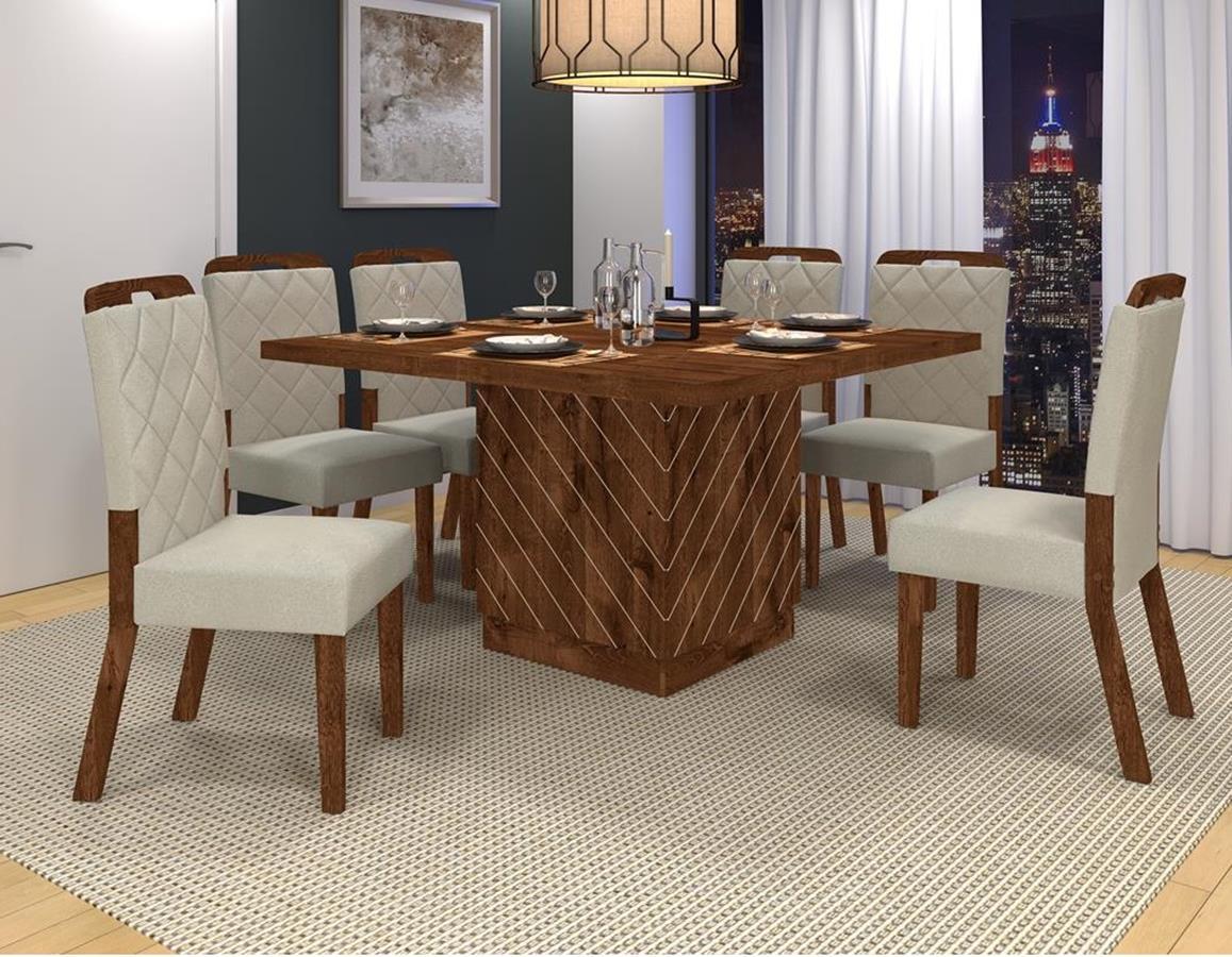Sala de Jantar com Mesa Vince + 6 Cadeiras Nevada - DJ Móveis