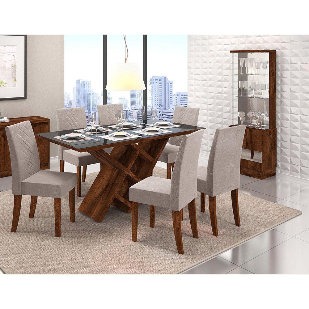 Sala De Jantar Mesa Duomo Retangular + 6 Cadeiras Olímpia - Dj Móveis
