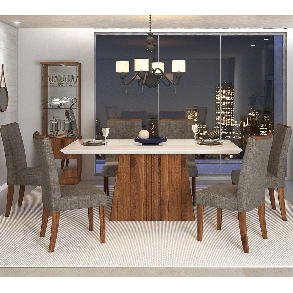Sala De Jantar Mesa Itália 1,70 Com Tampo De Madeira Chanfrado Com Vidro + 6 Cadeiras Golden - Dj Móveis