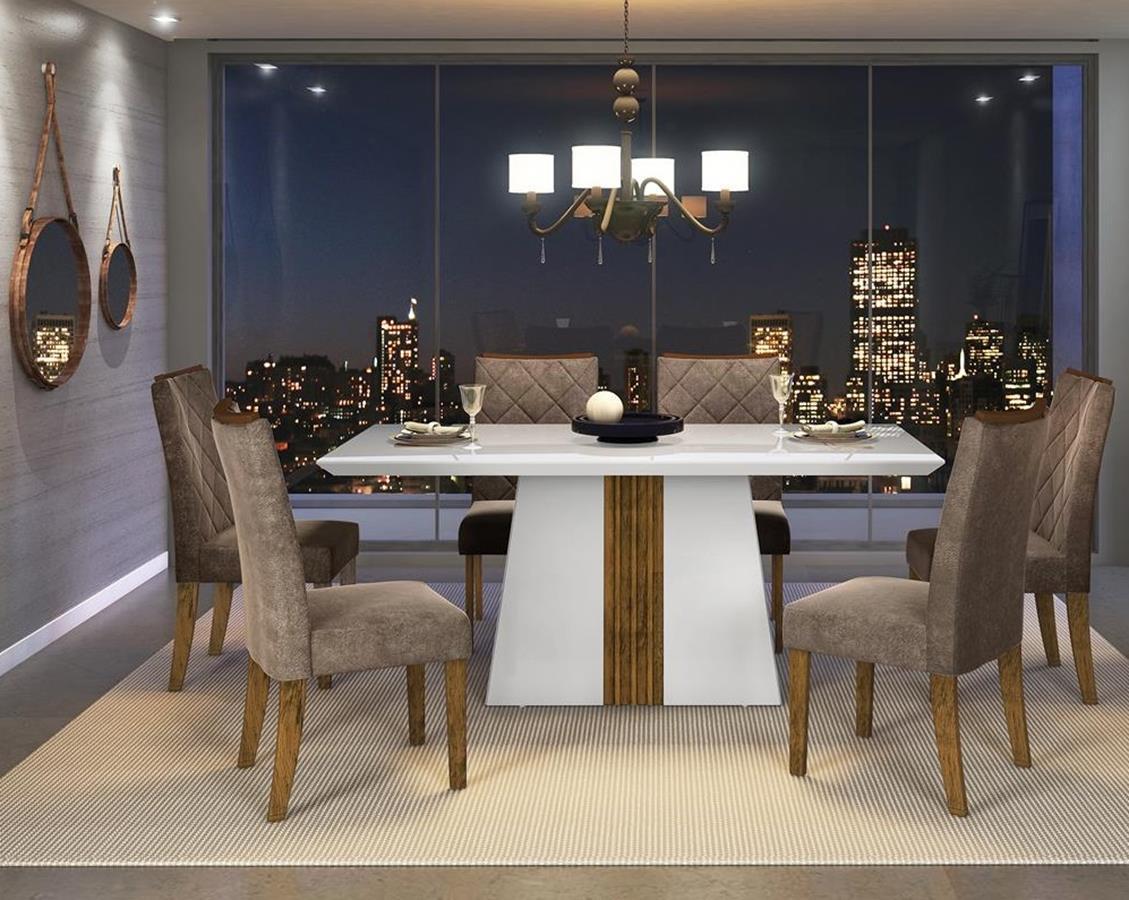 Sala de Jantar Mesa Itália com Tampo de Madeira Chanfrado com Vidro  + 6 Cadeiras Olimpia - DJ Móveis