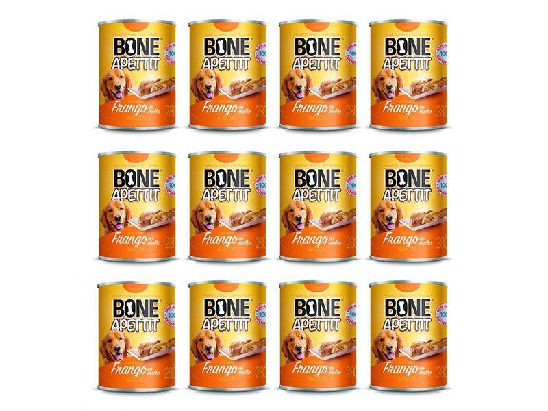12 Latas Alimento Úmido para Cães Patê Sabor Frango 280g Bone Apettit