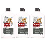 3 un Shampoo para Alergias Peróxido de Benzoila para Cachorro, Gato, Cavalo, Bactericida Seborreico Novapiel Sanol 500ml