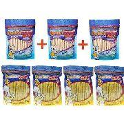 Kit Combo ossinhos palito petisco para Cachorro:  4 Ossinhos Frango 200g + 3 Ossinhos Leite 200g Deliciosso