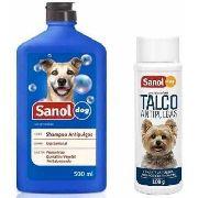 Kit Shampoo Antipulgas para cachorro + Talco Antipulgas Cães Sanol Dog
