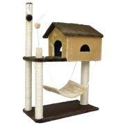 Arranhador Brinquedo para Gatos Casa dois andares com rede de pelúcia House Playground para gatos 104x70x35cm
