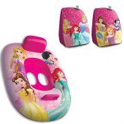 Boia Bote Infantil fralda com encosto e pegador + Par de boia de braço Princesas Disney