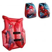 Boia infantil Colete Inflável para crianças + Par de boia de braço Homem Aranha - Spider Man Marvel