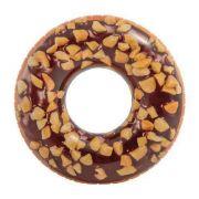 Boia Inflável para piscina Rosquinha Donut Chocolate crocante 1.14 metros de diâmetro Boia Divertida Redonda Intex 56262