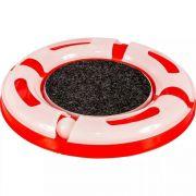 Brinquedo Para Gatos Pista Cat Gp Ball 4 Partes com arranhador central e bolinha led iluminada Jel Plast Vermelha
